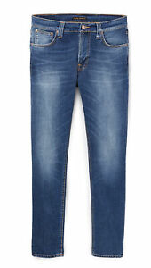 Nudie-Herren-Slim-Fit-Roehren-Stretch-Jeans-Hose-Lean-Dean-Bay-Blue
