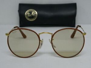 ray ban round metal leather