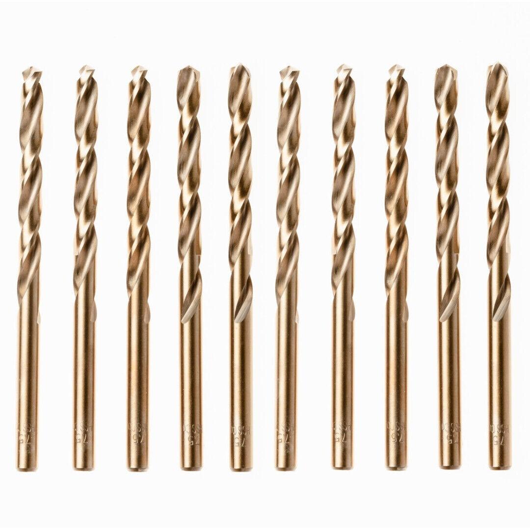 Box Of 10 x HSS Gold Cobalt Jobber Drill Bit For Stainless & Hard Steels. Drills