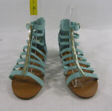 Summer NEW green/Gold ankle straps open toe  ROMAN GLADIATOR SANDALS SIZE  8