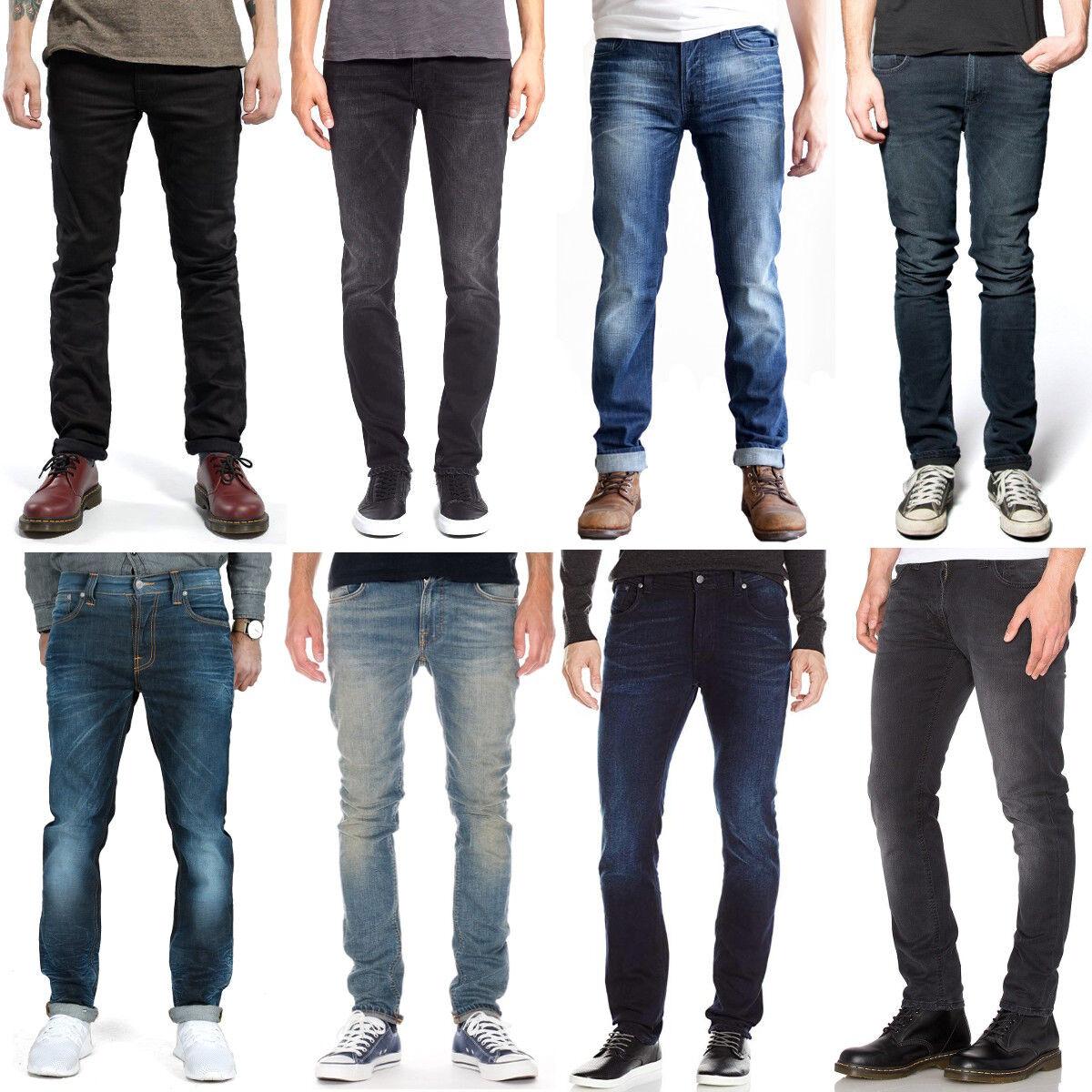 Nudie UOMO SLIM FIT JEANS-Pantaloni   Thin Finn   sale   Blu, Nero   Stretch