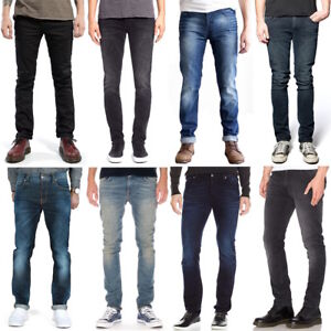Nudie-senores-slim-fit-Jeans-pantalones-Thin-Finn-sale-azul-negro-Stretch