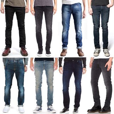 Compiacente Nudie Uomo Slim Fit Jeans-pantaloni | Thin Finn | Sale | Blu, Nero | Stretch- Domanda Che Supera L'Offerta