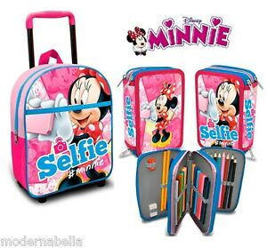 Confiant Kit Minnie Selfie Zaino Zainetto Trolley,astuccio Triplo Asilo Scuola Materna