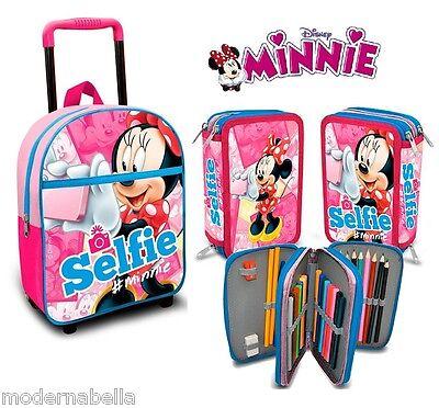 Fiducioso Kit Minnie Selfie Zaino Zainetto Trolley,astuccio Triplo Asilo Scuola Materna
