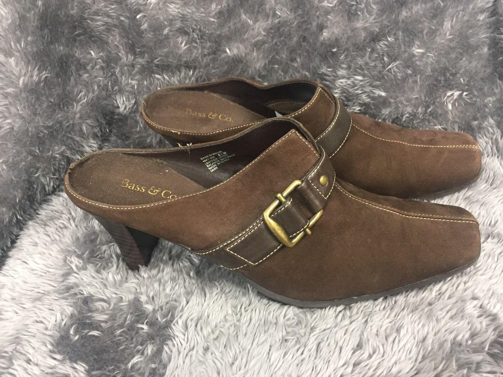 Bass Size 8.5 Clog Mule Brown Suede Heel Shoe On Square Toe Buckle Slip On Shoe Women's 8c3d36