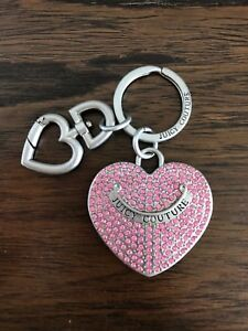 CRYSTAL CROWN HEART PURSE RING KEYCHAIN CHARM SILVER TONE PINK
