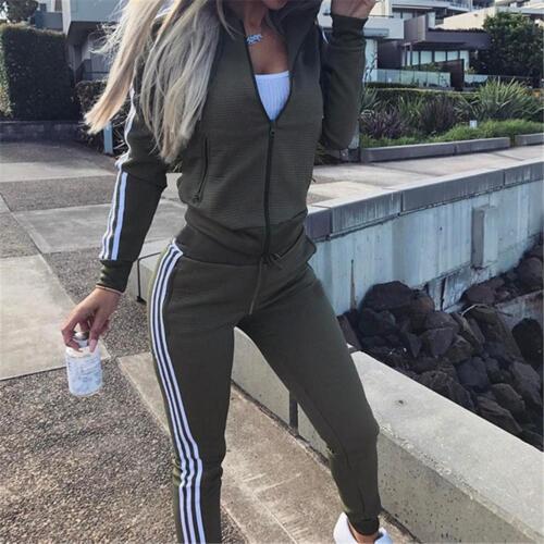 Women 2PCS Autumn Tracksuit V-Neck Zip Sweatshirt Pants Yoga Sports Casual Suit