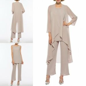 6d5c8bd5882 Sand Chiffon Wedding Mother of the Bride Groom Dresses Trouser Suits ...