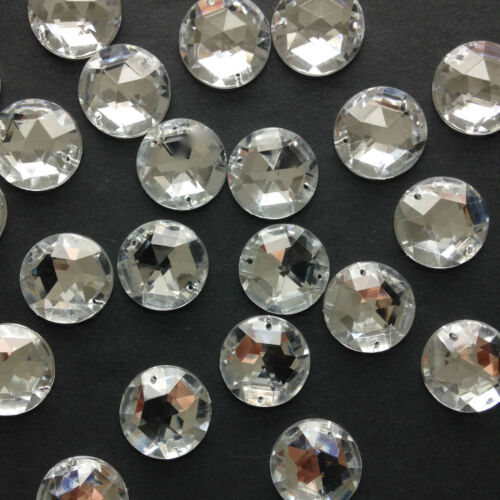 25 x Acrylic Round Facetted Sew-On Stones//Gems//Jewels Crystal in 3 sizes.