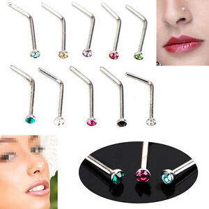 10PCS-Stainless-Steel-Nose-Body-Piercing-Jewelry-Crystal-Stud-Screw-Ring-Rings