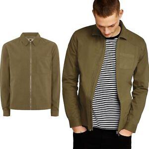New Mens Ex Topman 100% Cotton Zip Through Overshirt Summer Light ... f160aed6a5
