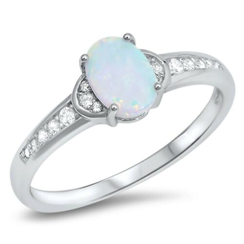 Oval Shape White Opal with CZ .925 Sterling Silver Ring Sizes 5-10