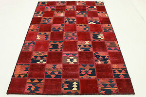 Orient-Teppich-Vintage-Patchwork-modernes-Design-Used-Look-200x140-rot-2175