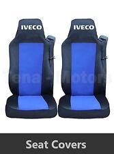 2 x IVECO STRALIS Coprisedili Fatti su misura HGV Camion Furgone Nero / Blu LHD