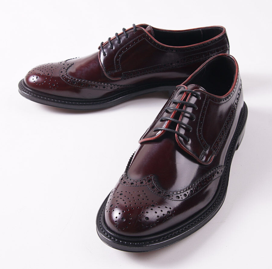 NIB  695 CANALI 1934 Polished Burgundy Bookbinder Wingtips US 8.5 D shoes