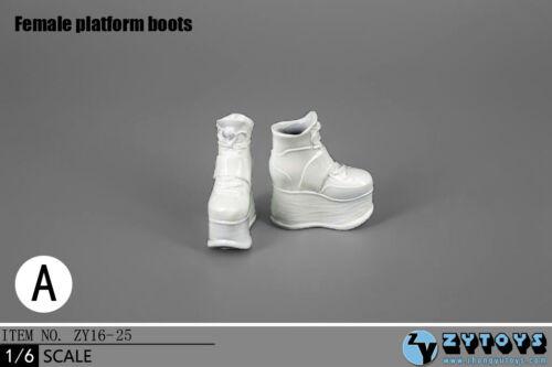 ZY Toys 1:6 Female Action Figure Chaussures Compensées En Blanc #ZY-16-25A