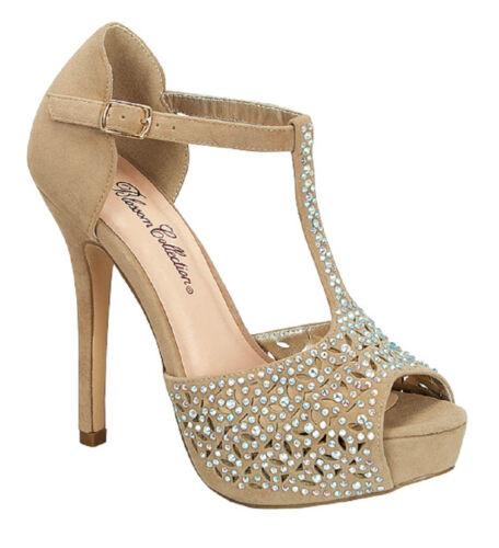 Velvet Rhinestone Peep Toe Strappy High Heel Platform Dress Sandal