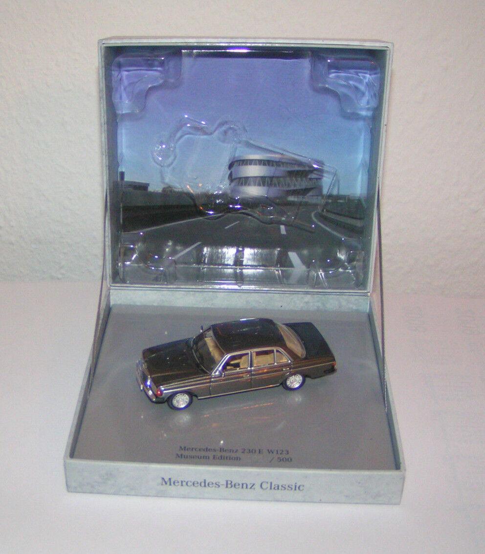 Mercedes - benz w 123 berlina 230 e a benzina antracite grau - minichamps 1 43