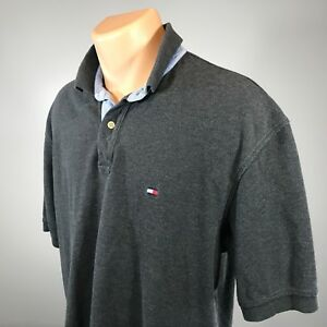Vintage-Tommy-Hilfiger-XL-Polo-Mens-Shirt-Size-X-Large-Gray-Short-Sleeve