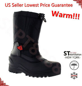 L&M Men's Black Winter Snow Boots Shoes Warm Thermolite Waterproof 2008