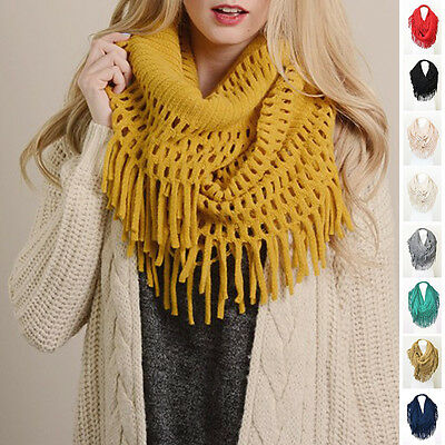 Warm Fall Winter Scarf Scarves Tassel Infinity Soft Mint LIMITED