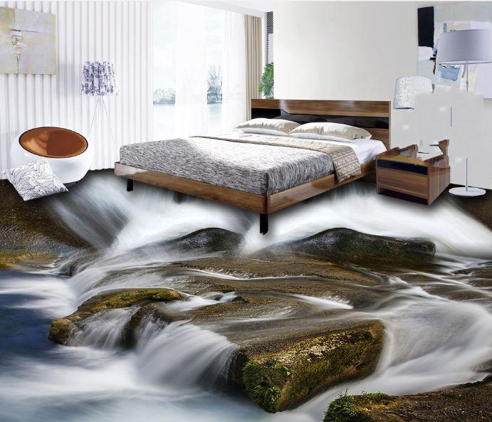 3D foresta fiume bello Pavimento Foto Wallpaper Murales Muro Stampa Decalcomania