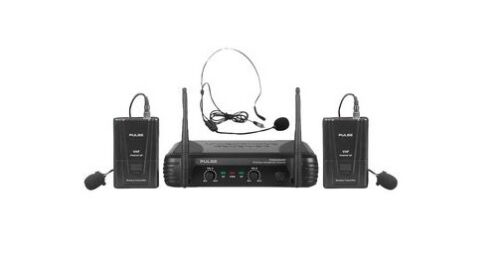Next Day Pulse PWM200VHFBP Dual Headset //Lapel Wireless Mic System Free Batts