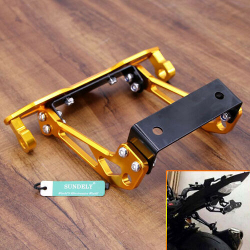 Newest Universal Billet Motorcycle Tail Tidy Lisence Plate Bracket Gold//Fixed