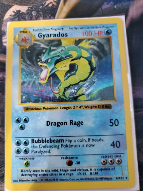 Gyarados Shadowless 6/102 Rare  HOLO Base Set 1999 Pokemon Card Played