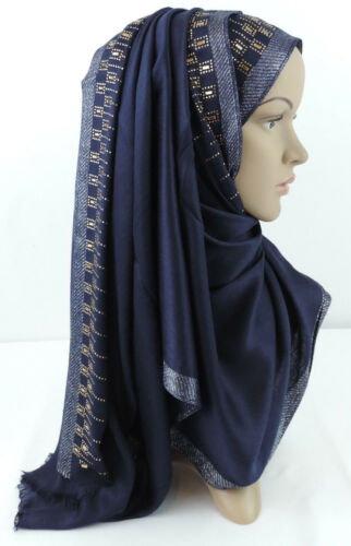 Coton Pashmina Sheen hijab écharpe Châle Wrap Musulman Islam coiffure 170x60cm