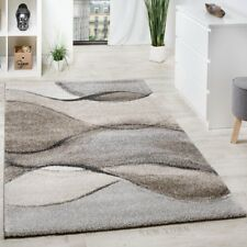 Beige Abstract Rug Wave Design Mat Brown Cream Low Pile Small Large Living Room