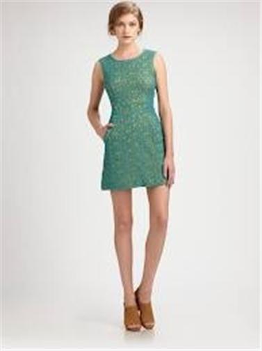 DVF Diane Von Furstenberg Cochepreena Mini  Pebble Encaje Cambio Vestido verde Amarillo 6  a precios asequibles