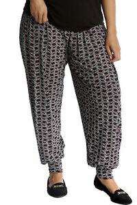New-Womens-Plus-Size-Harem-Trousers-Ladies-Pants-Ali-Baba-Tile-Mirror-Print-Sale