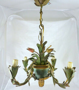 1940-French-Painted-Tole-Tulip-Flowers-Pot-Chandelier-Ceiling-Vintage-4-Lights