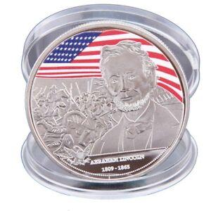WR-Abraham-Lincoln-Silver-Plated-Coin-US-Presidential-Souvenir-Art-Craft-Gift-YR
