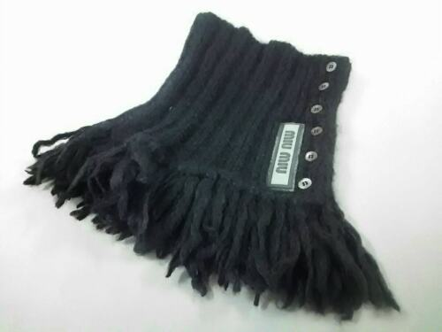 Auth miumiu Black Mohair Polyamide Wool Scarf