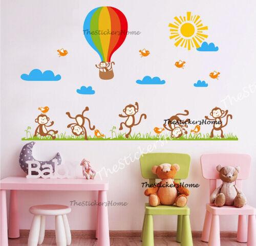 X-grand singe espiègle /& Hot Air Balloon pépinière mur chambre d/'enfant Sticker autocollant d/'Art