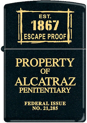 Zippo EST, 1867 Property Of Alcatraz Penitentiary Federal Issue No. 21,285 Rare