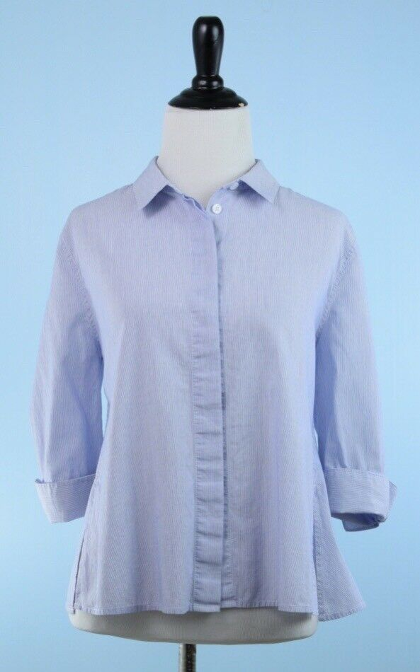 EQUIPMENT FEMME  Blau Weiß 3 4 Cuff Sleeve 100% Cotton Pinstripe Blouse L
