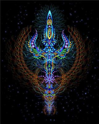 UV Backdrop Psychedelisch Kunst Schwarzlicht Wandbehang Psy Goa Deko Neon Banner
