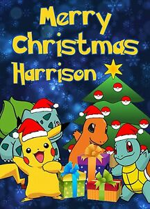 Pokemon Christmas.Details About Pokemon Christmas Card Personalised Pikachu Presents Daughter Son Brother Tag