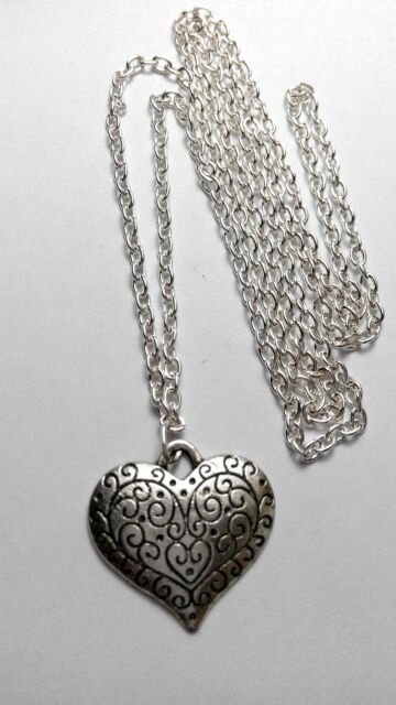 "A Love Heart Tibetan Silver Charm, Long ( 30"" ) Chain Necklace, Lovers Gift"