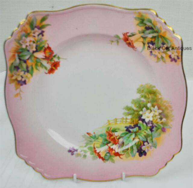 "Royal Winton DINNER Plate 9 3/4""  RWI117 LANDSCAPE FENCE GOLD & PINK FLORAL"