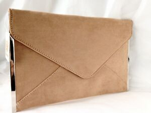 63c7d427a28 NEW CAMEL TAN NUDE FAUX SUEDE EVENING DAY CLUTCH BAG ENVELOPE NAVY ...