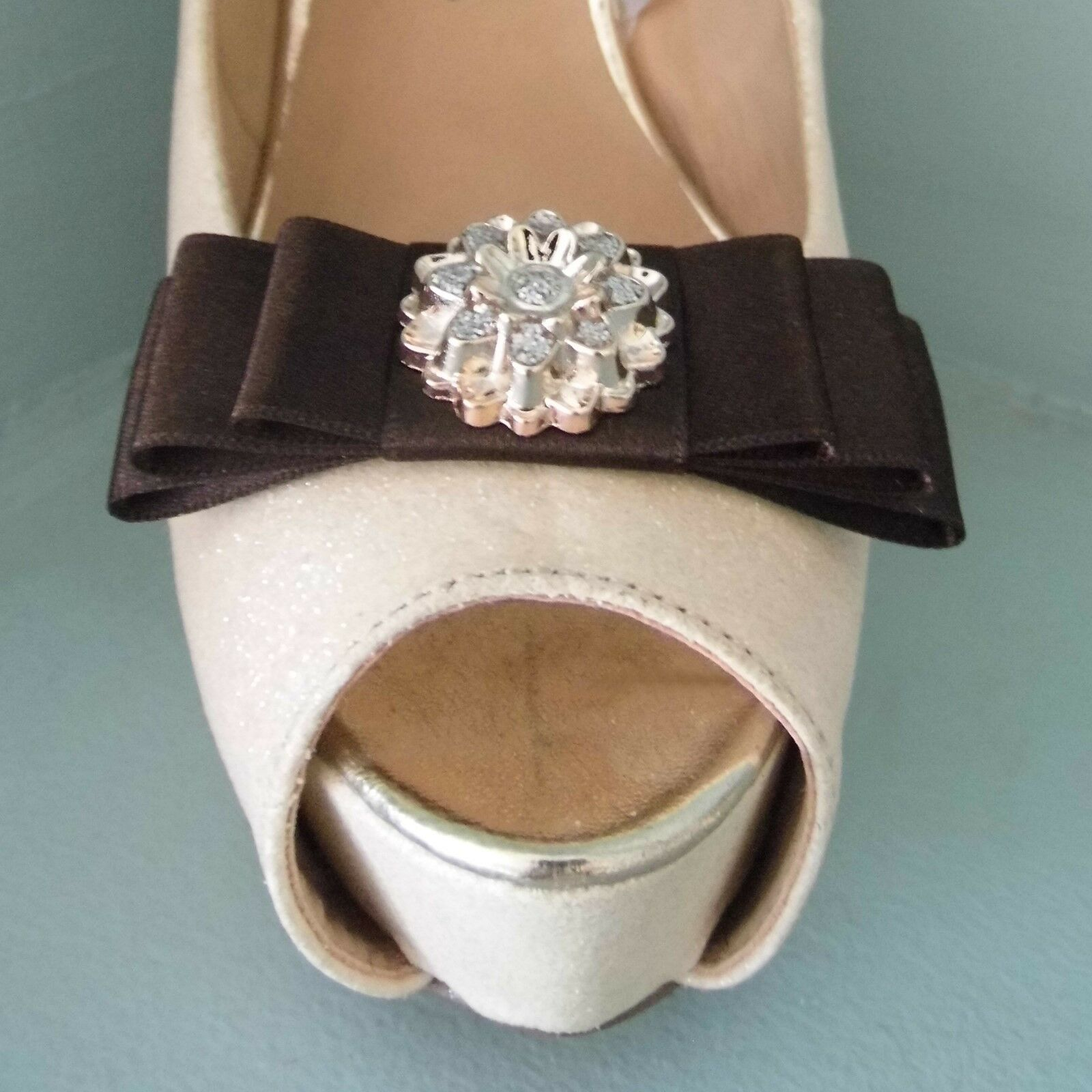 2 Dark Brown Bow Clips for Shoes with Gold & Diamante Style Centre