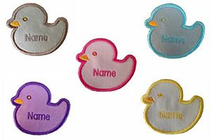 Duckling-Embroidered-Personalised-Sew-on-Iron-on-name-badge-patch-size-70X75mm