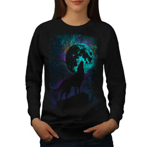 Wellcoda-Howling-Wolf-Pack-Womens-Sweatshirt-Wild-Casual-Pullover-Jumper