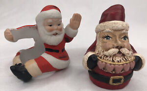 Lot Of 2 Santa Claus Figurines Decorations Christmas Holidays