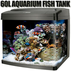 New-60L-Aquarium-Fish-Tank-Curved-Glass-Complete-Set-Filter-Pump-Light-Black